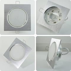 Metall Einbaustrahler GX53 Eckig Alu mit 6W LED 230V