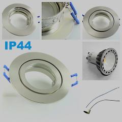 LED Einbaustrahler Feuchtraum 1x4W COB GU10 + Einbaurahmen IP44 Gebürstet Rund Klickverschluss