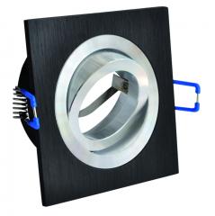 Aluminium Einbaustrahler Bicolor schwarz Viereckig gebürstet schwenkbar
