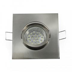 Einbaustrahler Set 20 LED GU10 + Einbaurahmen 4-eckig eisengebürstet schwenkbar