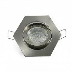 Einbaustrahler Set 20 LED GU10 + Einbaurahmen eisengeb. 6-eckig schwenkbar