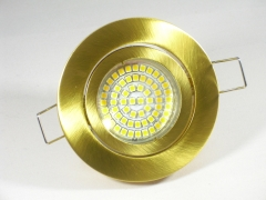 Einbaustrahler Set 60 SMD GU10 + Einbaurahmen Messing-Gold Rund schwenkbar