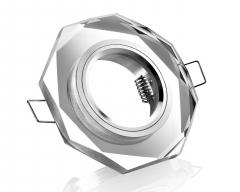 Einbaustrahler Klar Kristallglas 8-eckig Schnellspannkopf