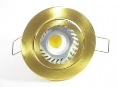 Einbaustrahler Set 1x4W GU10 + Einbaurahmen Messing/Gold schwenkbar