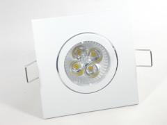 Einbaustrahler Set 4x1W GU10 5W + Einbaurahmen 4-eckig weiß schwenkbar