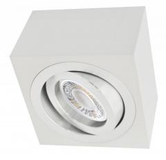 LED Decken Aufbaustrahler Alu weiß eckig mit 5W LED Modul 230V warmweiß dimmbar