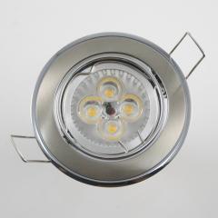 Einbaustrahler Set 4x1W GU10 dimmbar + Einbaurahmen Chrom-Eisengebürstet schwenkbar
