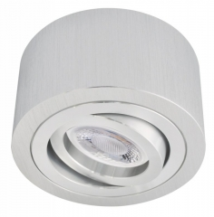 LED Decken Aufbaustrahler Alu gebürstet rund mit 5W LED Modul 230V warmweiß dimmbar