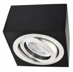 LED Decken Aufbaustrahler Alu schwarz eckig mit 5W LED Modul 230V warmweiß dimmbar