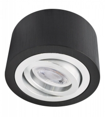 LED Decken Aufbaustrahler Alu schwarz rund mit 5W LED Modul 230V warmweiß dimmbar