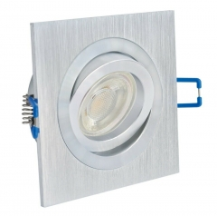 LED Einbaustrahler 5W 9 SMD GU10 + Einbaurahmen Alu Eckig Bicolor schwenkbar