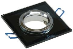 6x Kristallglas Decken-Einbaustrahler schwarz eckig