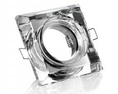 Kristall-Einbaustrahler 4-eckig viereckig klar für GU10 u. MR16