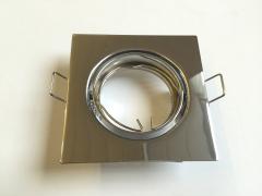 Metall Einbaustrahler chrom eckig schwenkbar inkl. GU10 Fassung
