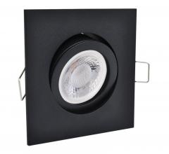 LED Einbaustrahler 5W 9 SMD GU10 + Einbaurahmen schwarz Eckig schwenkbar Klick