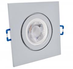 IP44 GU10 LED Feuchtraum Einbaustrahler Set 5W Chrom Eckig 230V