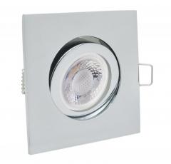 Einbaustrahler mit 5W LED Modul dimmbar Einbauspot 4-eckig chrom schwenkbar 30mm Einbautiefe