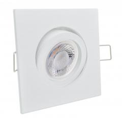 Einbaustrahler mit 5W LED Modul dimmbar Einbauspot 4-eckig weiß schwenkbar 30mm Einbautiefe