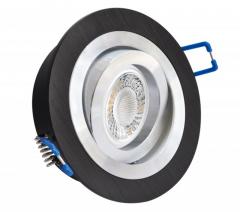 Einbaustrahler mit 5W LED Modul dimmbar Einbauspot Alu Rund Bicolor schwarz schwenkbar 30mm Einbautiefe