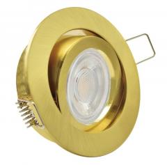 Einbaustrahler mit 5W LED Modul dimmbar Einbauspot Gold Rund schwenkbar Klick 30mm Einbautiefe