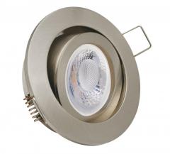 Einbaustrahler mit 5W LED Modul dimmbar Einbauspot eisengebürstet Rund schwenkbar 30mm Einbautiefe