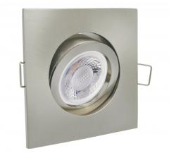 Einbaustrahler mit 5W LED Modul dimmbar Einbauspot viereckig eisengebürstet schwenkbar 30mm Einbautiefe