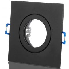 Feuchtraum ALU Einbaustrahler Schwarz Eckig mit Klickverschluss IP44