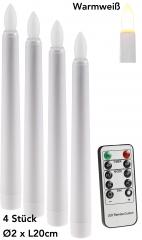 LED Stabkerze 20cm Ø2cm, 4er Pack